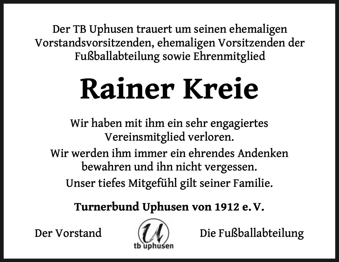 Traueranzeige Rainer Kreie